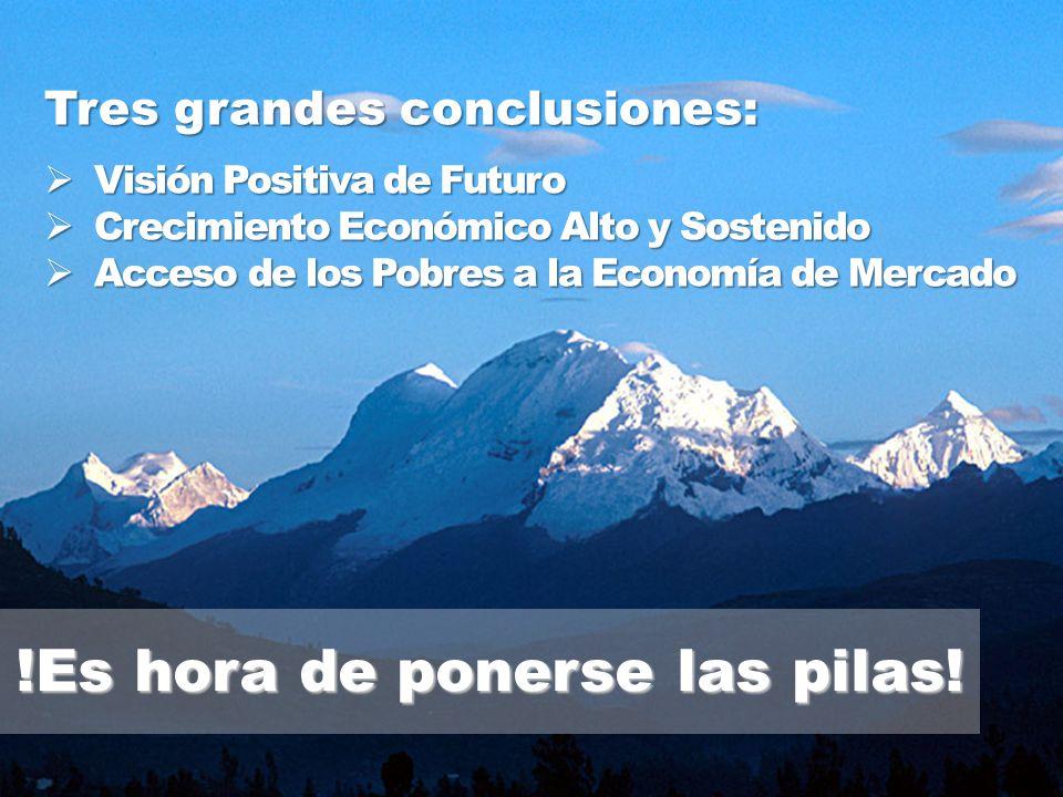 Visión Positiva de Futuro Visión Positiva de Futuro Crecimiento Económico Alto y Sostenido Crecimiento Económico Alto y Sostenido Acceso de los Pobres a la Economía de Mercado Acceso de los Pobres a la Economía de Mercado Tres grandes conclusiones: !Es hora de ponerse las pilas!