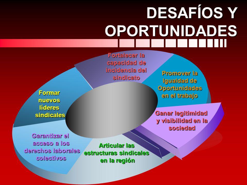 DESAFÍOS Y OPORTUNIDADES Promover la Igualdad de Oportunidades en el trabajo Fortalecer la capacidad de incidencia del sindicato Formar nuevos líderes