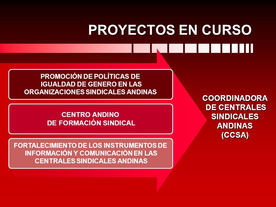 PROYECTOS EN CURSO PROMOCIÓN DE POLÍTICAS DE IGUALDAD DE GENERO EN LAS ORGANIZACIONES SINDICALES ANDINAS CENTRO ANDINO DE FORMACIÓN SINDICAL FORTALECI