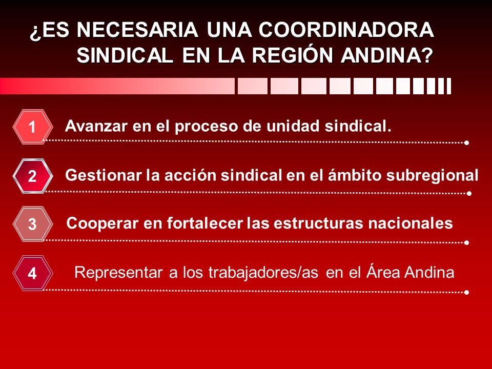 Avanzar en el proceso de unidad sindical. 1 Gestionar la acción sindical en el ámbito subregional 2 Cooperar en fortalecer las estructuras nacionales