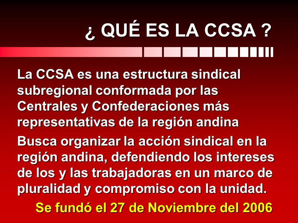¿ QUÉ ES LA CCSA ? La CCSA es una estructura sindical subregional conformada por las Centrales y Confederaciones más representativas de la región andi