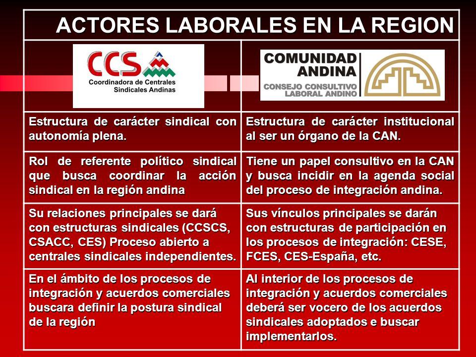 ACTORES LABORALES EN LA REGION Estructura de carácter sindical con autonomía plena. Estructura de carácter institucional al ser un órgano de la CAN. R