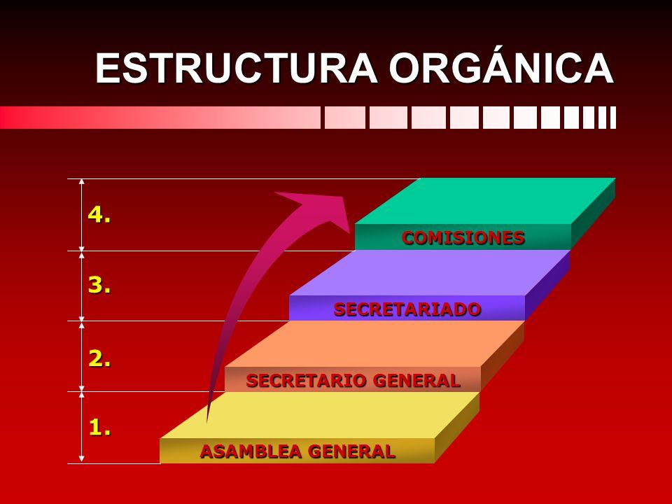 COMISIONES SECRETARIADO SECRETARIO GENERAL ASAMBLEA GENERAL 4. 3. 2. 1. ESTRUCTURA ORGÁNICA