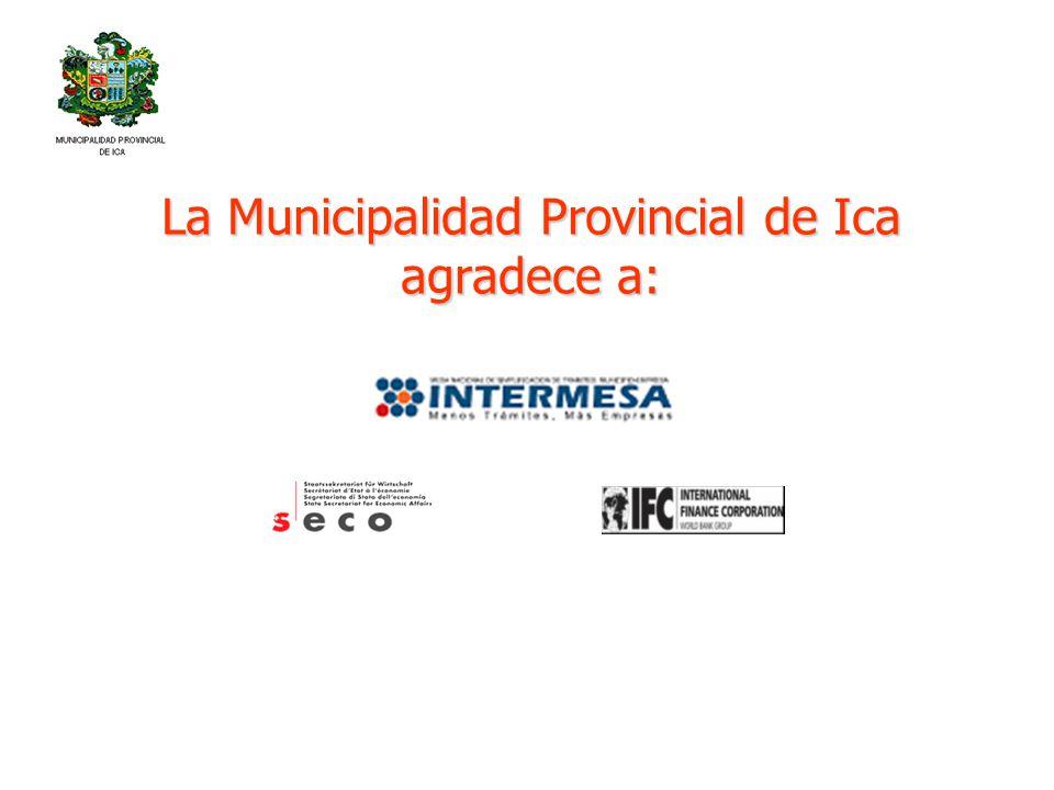 La Municipalidad Provincial de Ica agradece a: