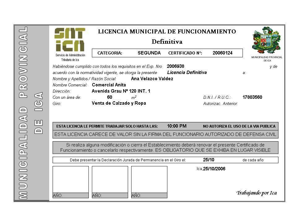Registro de Expediente 1 Pago de Tasas 2 Inspección Defensa Civil (Certificado de Seguridad) 3 Emisión de Licencia 4 Propuesta – Licencia de Funcionamiento (Caso: riesgo alto, sin observaciones DC) 10% de los casos Consulta de Compatibilidad (página WEB) 0
