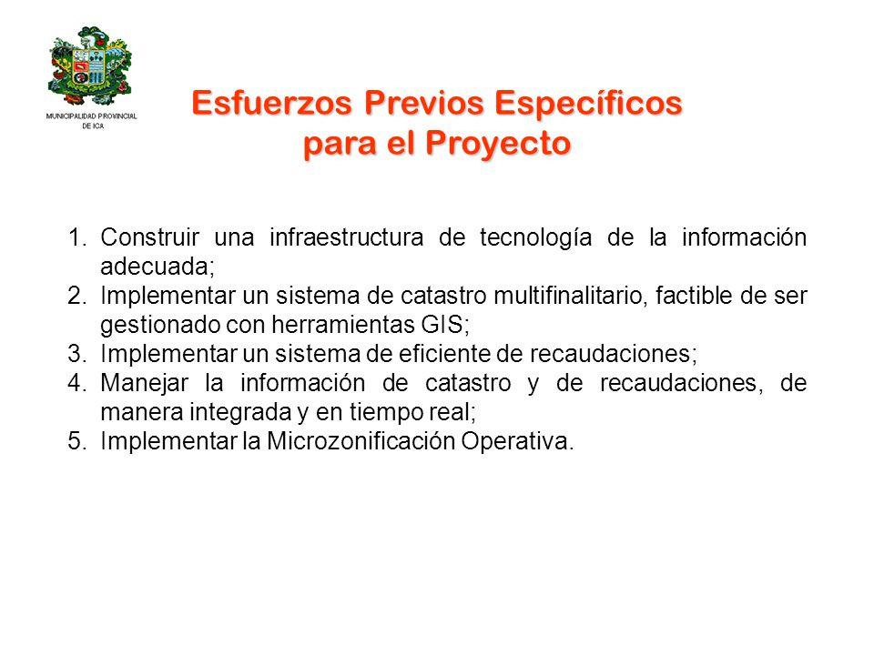 Esfuerzos Previos Específicos para el Proyecto 1.Construir una infraestructura de tecnología de la información adecuada; 2.Implementar un sistema de c