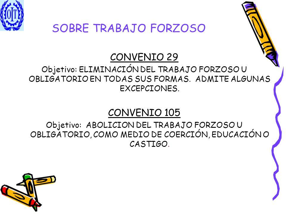 SOBRE TRABAJO FORZOSO CONVENIO 29 Objetivo: ELIMINACIÓN DEL TRABAJO FORZOSO U OBLIGATORIO EN TODAS SUS FORMAS. ADMITE ALGUNAS EXCEPCIONES. CONVENIO 10
