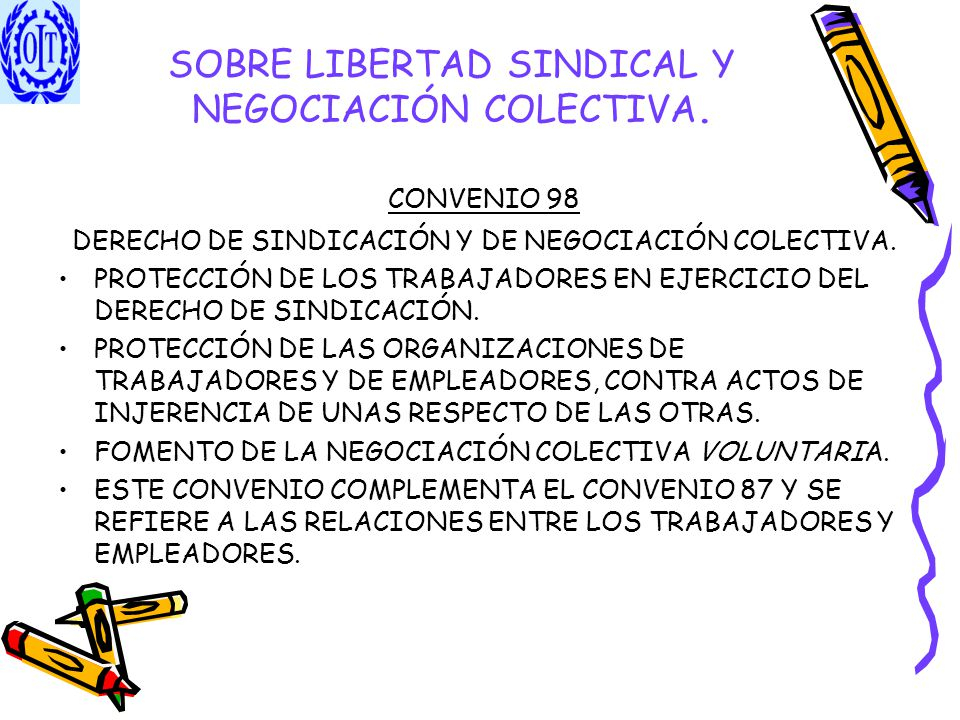 SOBRE LIBERTAD SINDICAL Y NEGOCIACIÓN COLECTIVA. CONVENIO 98 DERECHO DE SINDICACIÓN Y DE NEGOCIACIÓN COLECTIVA. PROTECCIÓN DE LOS TRABAJADORES EN EJER