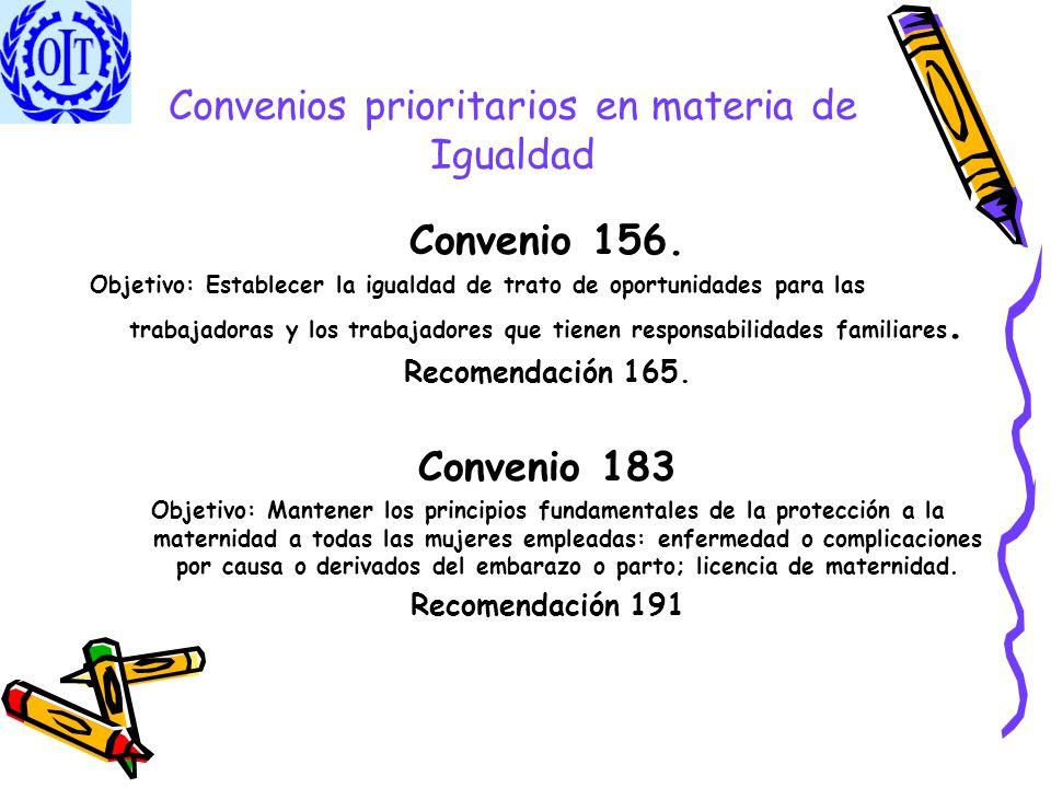Convenios prioritarios en materia de Igualdad Convenio 156. Objetivo: Establecer la igualdad de trato de oportunidades para las trabajadoras y los tra