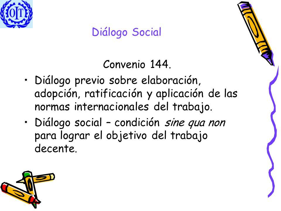 Diálogo Social Convenio 144. Diálogo previo sobre elaboración, adopción, ratificación y aplicación de las normas internacionales del trabajo. Diálogo