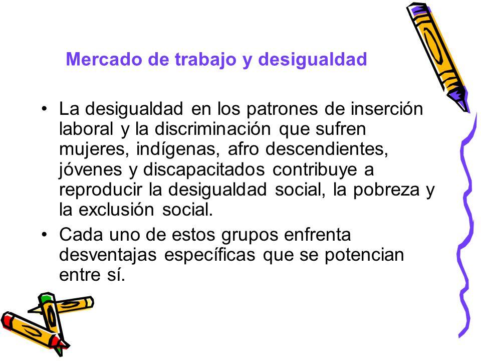 Mercado de trabajo y desigualdad La desigualdad en los patrones de inserción laboral y la discriminación que sufren mujeres, indígenas, afro descendie