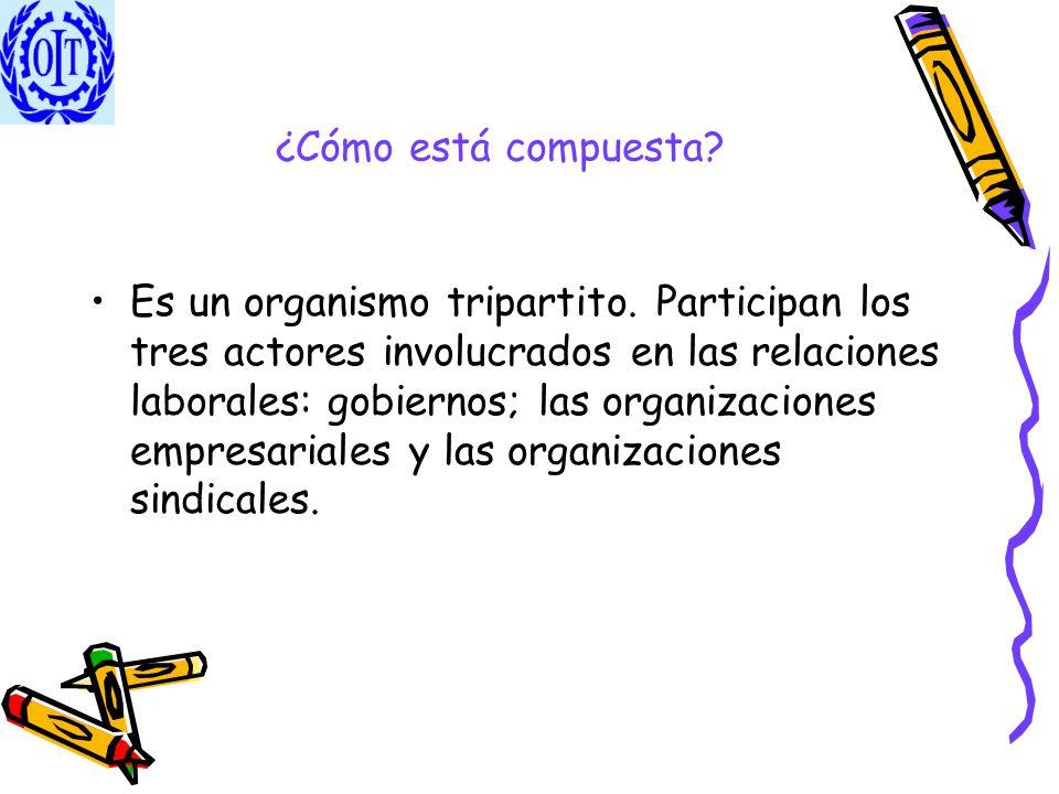 ¿Cómo está compuesta? Es un organismo tripartito. Participan los tres actores involucrados en las relaciones laborales: gobiernos; las organizaciones