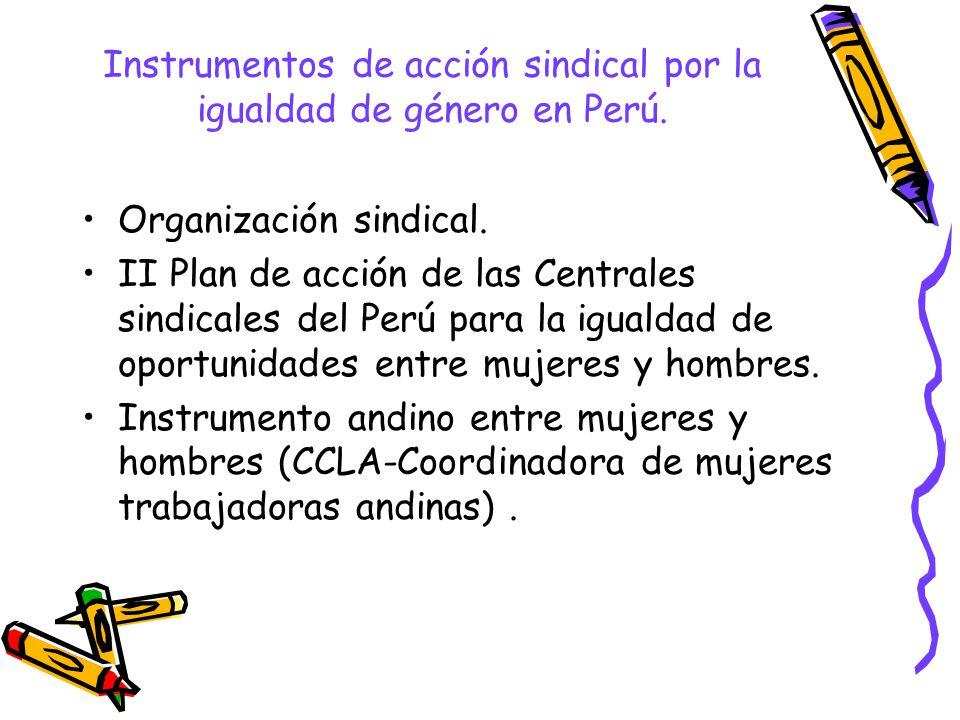 Instrumentos de acción sindical por la igualdad de género en Perú. Organización sindical. II Plan de acción de las Centrales sindicales del Perú para