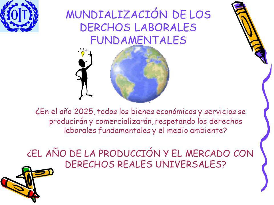 MUNDIALIZACIÓN DE LOS DERCHOS LABORALES FUNDAMENTALES ¿ En el año 2025, todos los bienes económicos y servicios se producirán y comercializarán, respe