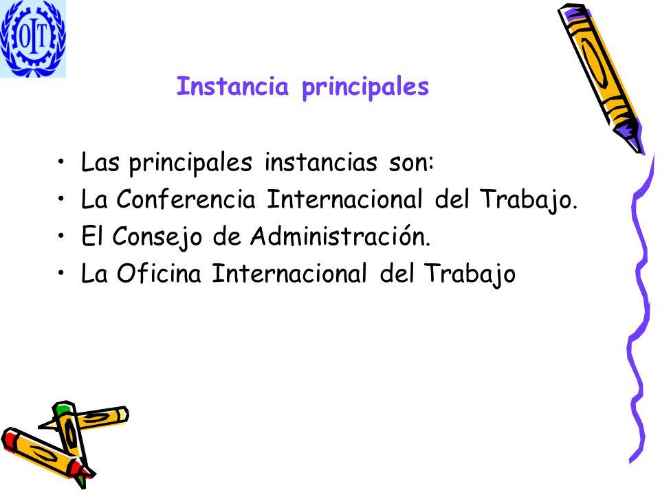 Instancia principales Las principales instancias son: La Conferencia Internacional del Trabajo. El Consejo de Administración. La Oficina Internacional