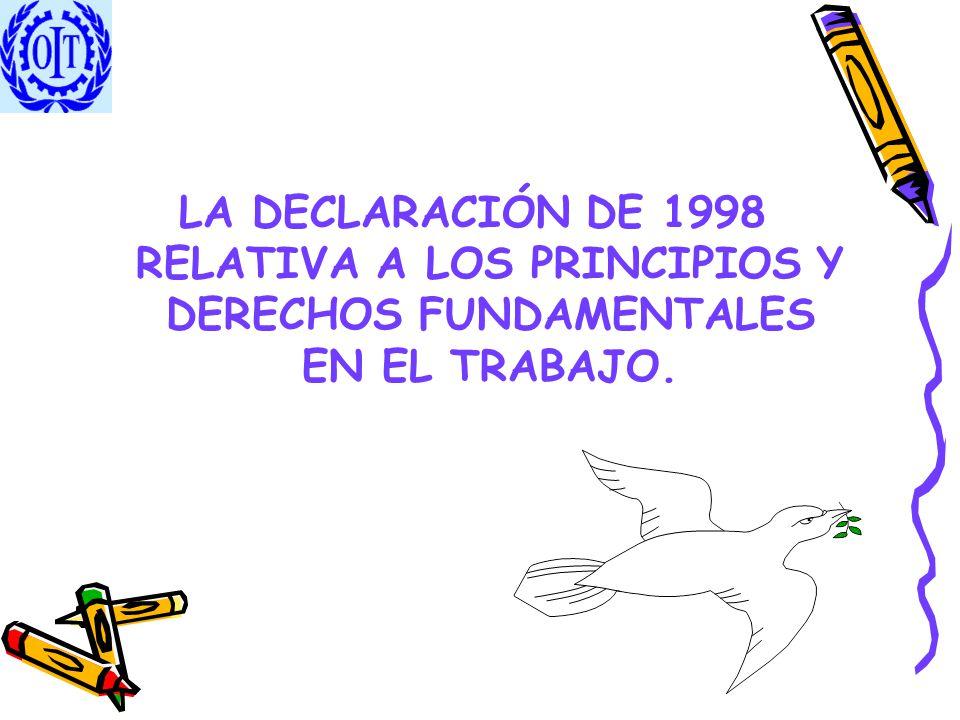 FUNDAMENTO DE APLICACIÓN Esta Declaración (1998) tiene su fundamento en la Constitución de la OIT y muy especialmente en el preámbulo.
