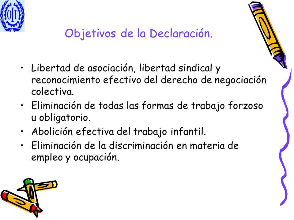 Objetivos de la Declaración. Libertad de asociación, libertad sindical y reconocimiento efectivo del derecho de negociación colectiva. Eliminación de