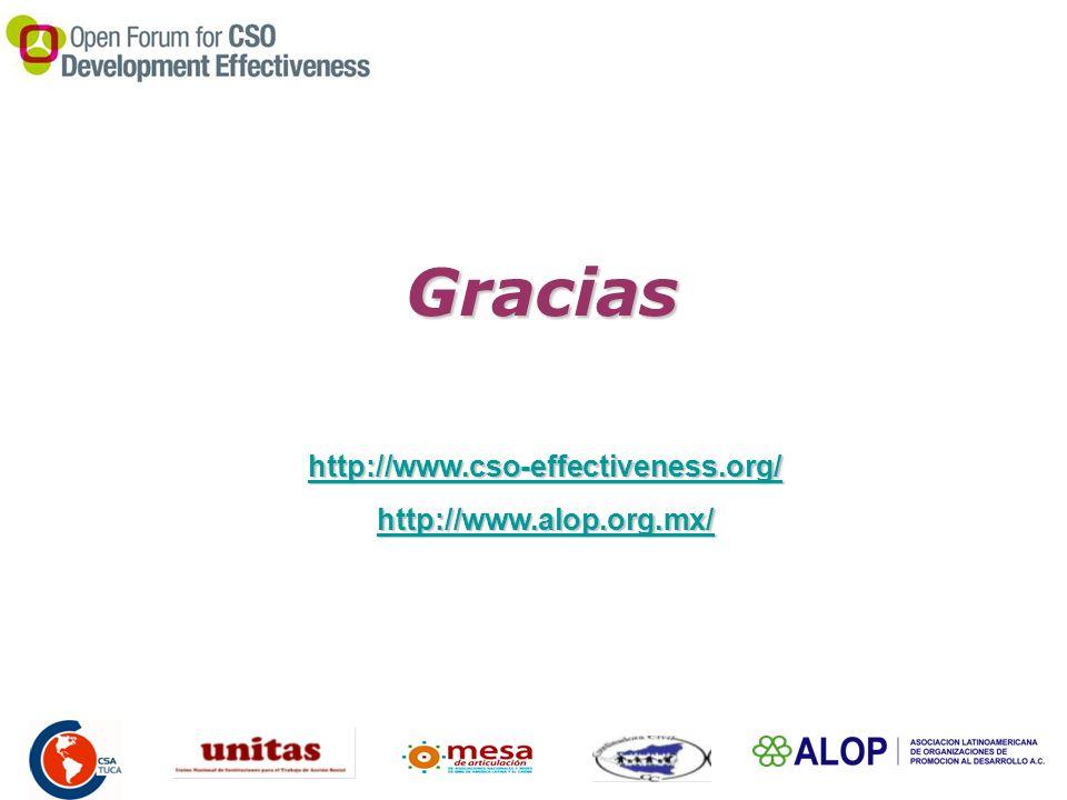 Gracias http://www.cso-effectiveness.org/ http://www.alop.org.mx/