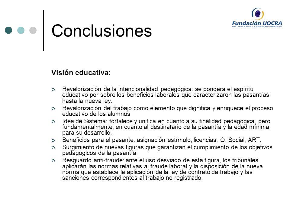 Conclusiones Visión educativa: Revalorización de la intencionalidad pedagógica: se pondera el espíritu educativo por sobre los beneficios laborales qu