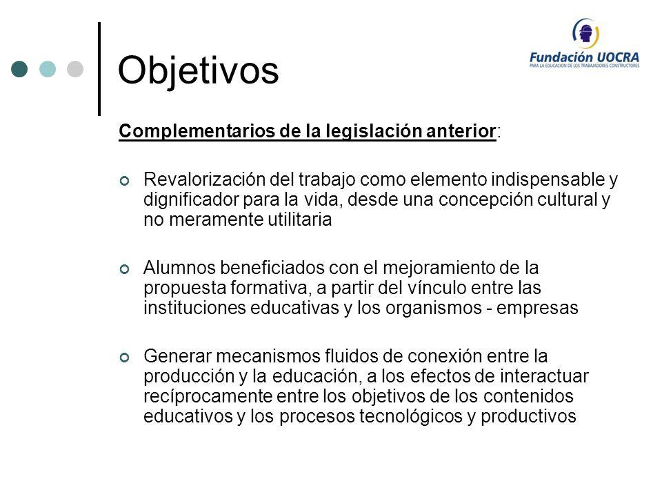 Objetivos Complementarios de la legislación anterior: Revalorización del trabajo como elemento indispensable y dignificador para la vida, desde una co