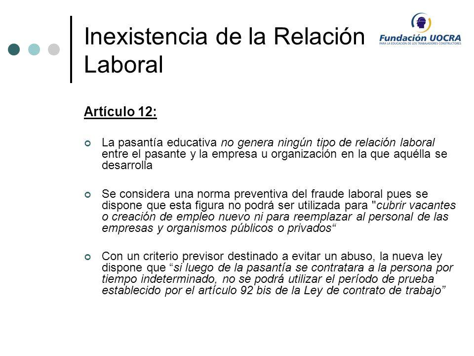 Inexistencia de la Relación Laboral Artículo 12: La pasantía educativa no genera ningún tipo de relación laboral entre el pasante y la empresa u organ