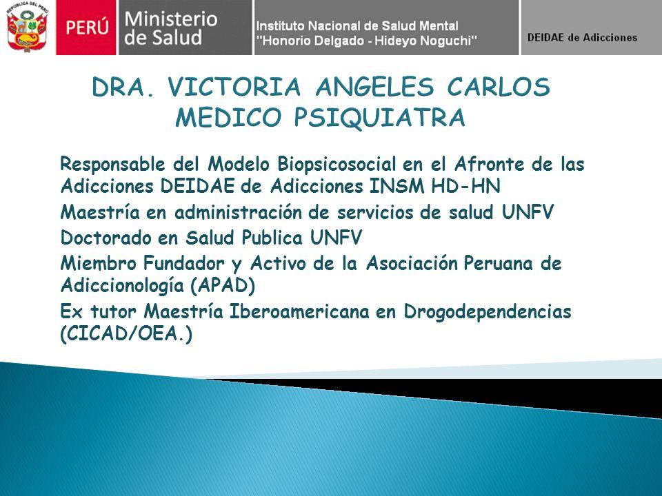 Responsable del Modelo Biopsicosocial en el Afronte de las Adicciones DEIDAE de Adicciones INSM HD-HN Maestría en administración de servicios de salud