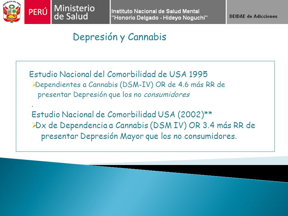 Estudio Nacional del Comorbilidad de USA 1995 Dependientes a Cannabis (DSM-IV) OR de 4.6 más RR de presentar Depresión que los no consumidores. Estudi