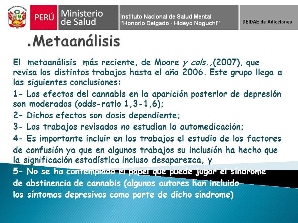 El metaanálisis más reciente, de Moore y cols.,(2007), que revisa los distintos trabajos hasta el año 2006. Este grupo llega a las siguientes conclusi