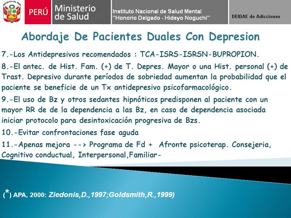 7.-Los Antidepresivos recomendados : TCA-ISRS-ISRSN-BUPROPION. 8.-El antec. de Hist. Fam. (+) de T. Depres. Mayor o una Hist. personal (+) de Trast. D