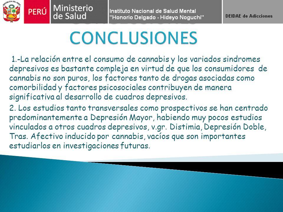 1.-La relación entre el consumo de cannabis y los variados sindromes depresivos es bastante compleja en virtud de que los consumidores de cannabis no