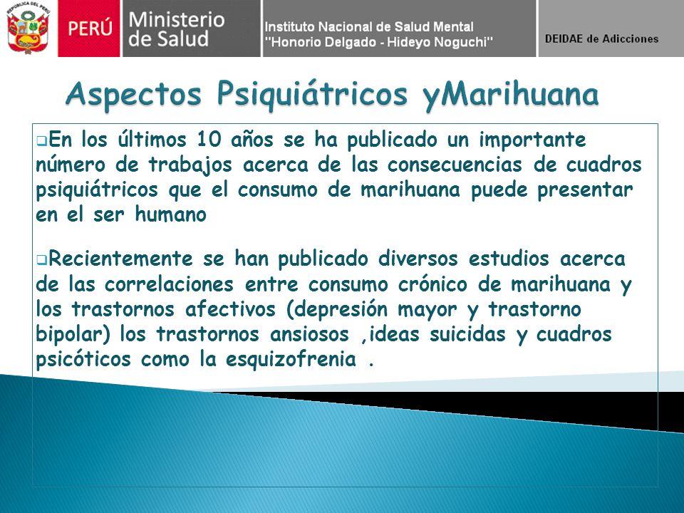Estudio Poblacional Peruano INSM 2002* Sub muestra de Consumidores de Cannabis Adolescentes Lima Metropolitana n= 911 Prevalencia de Vida Depresión Mayor en consumidores 11% vs 8.6% Adolescentes de Costa Perú no Lima n= 2400 Prevalencia de Vida Depresión Mayor en consumidores 16% vs 4.3% Adultos en Costa No Lima n= 6555 Prevalencia Anual de Depresión Mayor en consumidores 41.8% vs 5.6% Estudios sin corrección de variables intervenientes