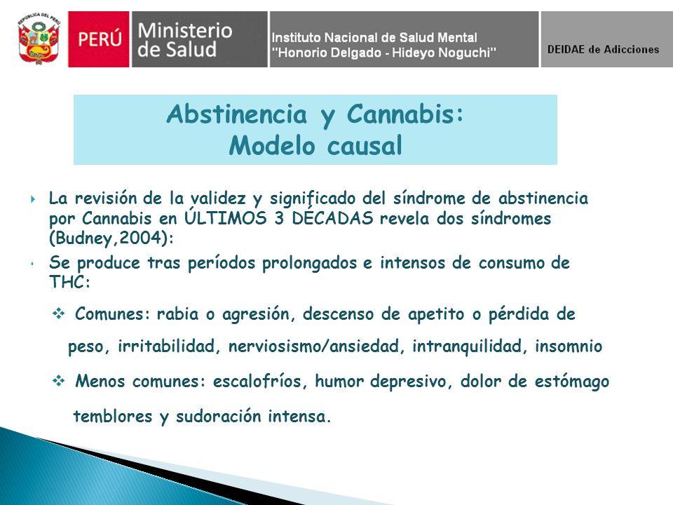 La revisión de la validez y significado del síndrome de abstinencia por Cannabis en ÚLTIMOS 3 DÉCADAS revela dos síndromes (Budney,2004): Se produce t