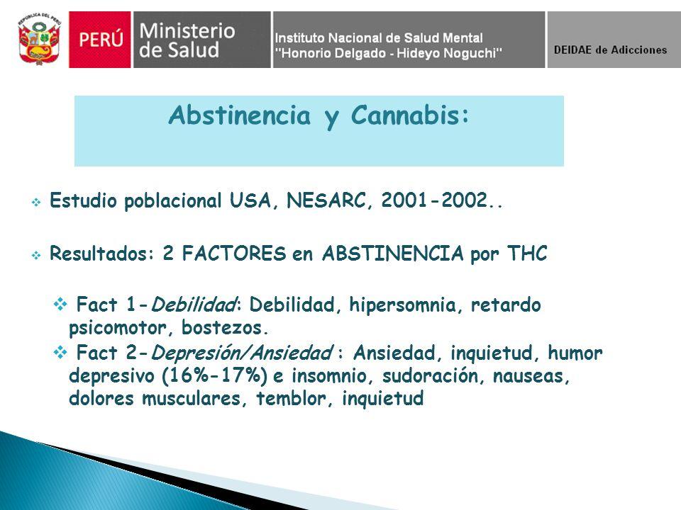 Estudio poblacional USA, NESARC, 2001-2002.. Resultados: 2 FACTORES en ABSTINENCIA por THC Fact 1-Debilidad: Debilidad, hipersomnia, retardo psicomoto