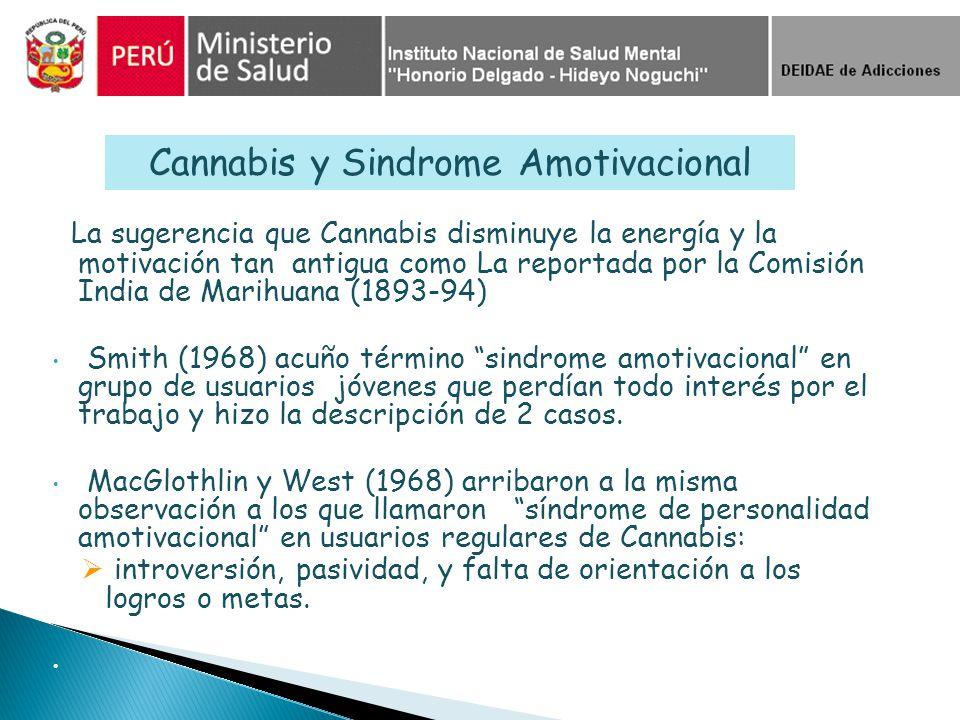 La sugerencia que Cannabis disminuye la energía y la motivación tan antigua como La reportada por la Comisión India de Marihuana (1893-94) Smith (1968