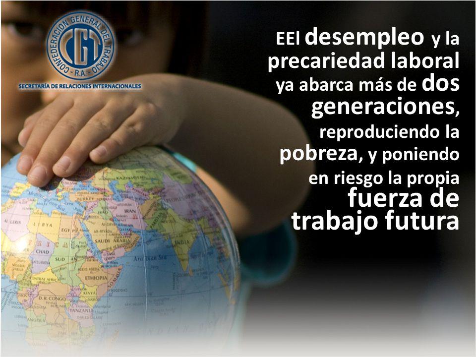 EEl desempleo y la precariedad laboral ya abarca más de dos generaciones, reproduciendo la pobreza, y poniendo en riesgo la propia fuerza de trabajo futura