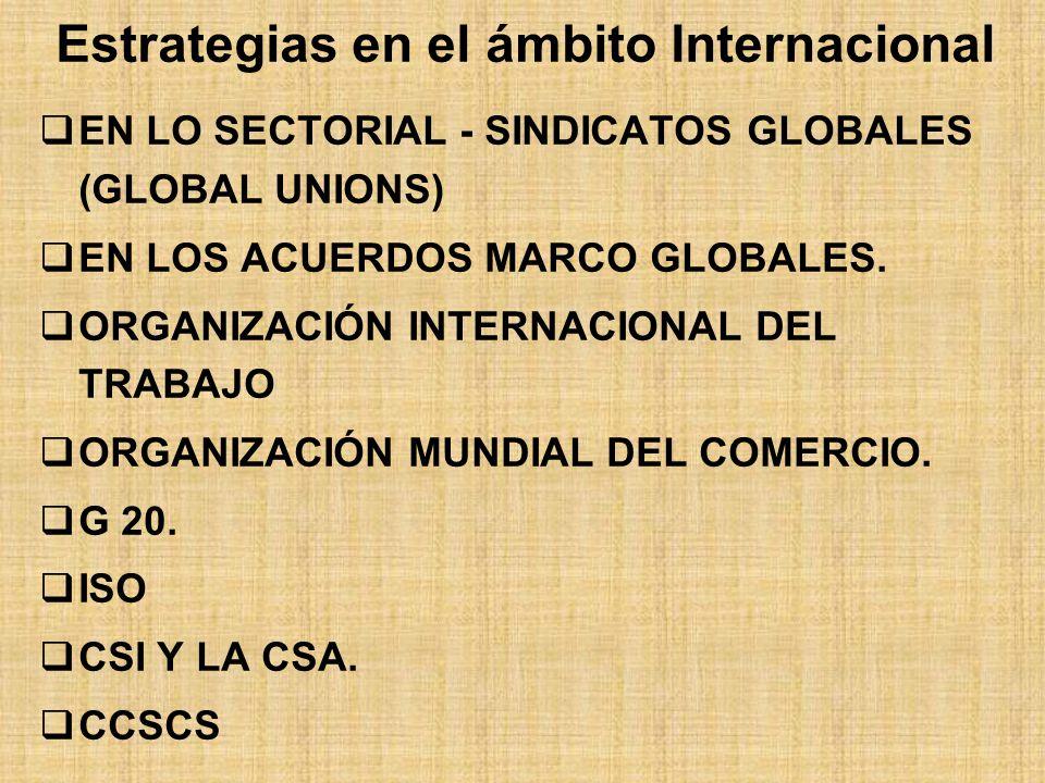 Estrategias en el ámbito Internacional EN LO SECTORIAL - SINDICATOS GLOBALES (GLOBAL UNIONS) EN LOS ACUERDOS MARCO GLOBALES.