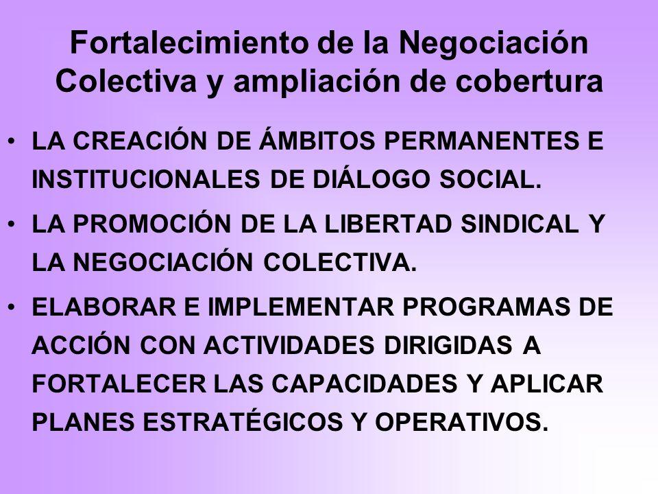 Fortalecimiento de la Negociación Colectiva y ampliación de cobertura LA CREACIÓN DE ÁMBITOS PERMANENTES E INSTITUCIONALES DE DIÁLOGO SOCIAL.