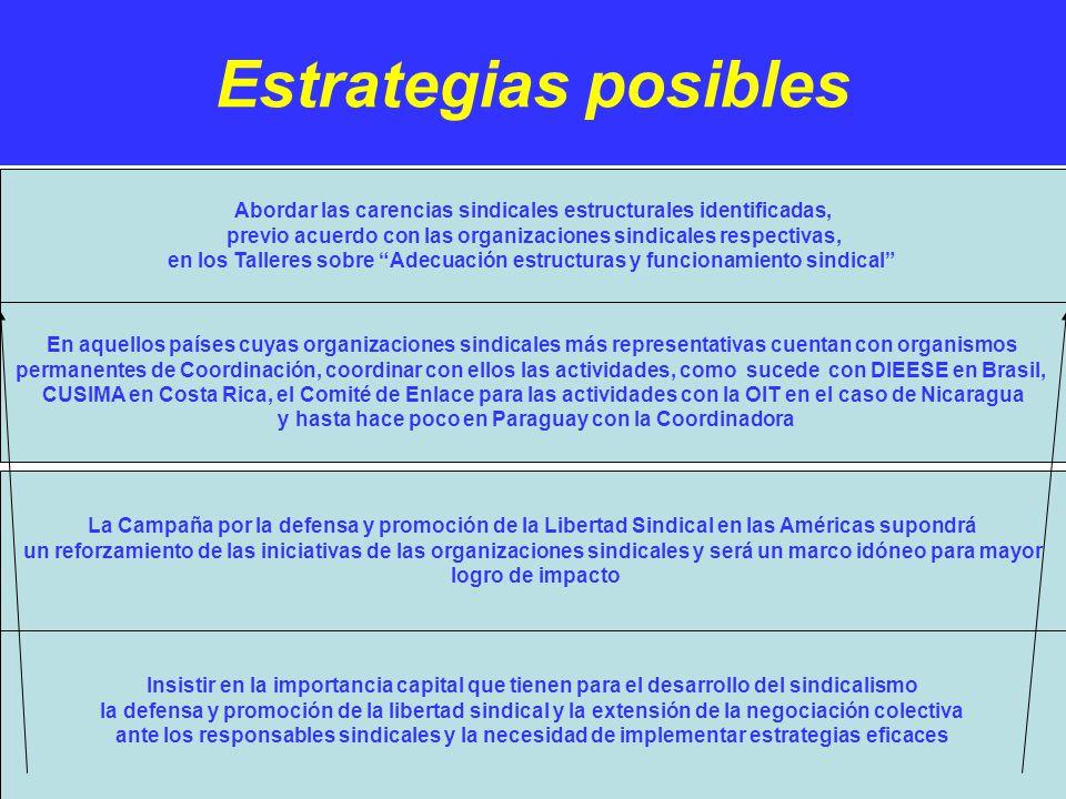 Estrategias posibles. Insistir en la importancia capital que tienen para el desarrollo del sindicalismo la defensa y promoción de la libertad sindical
