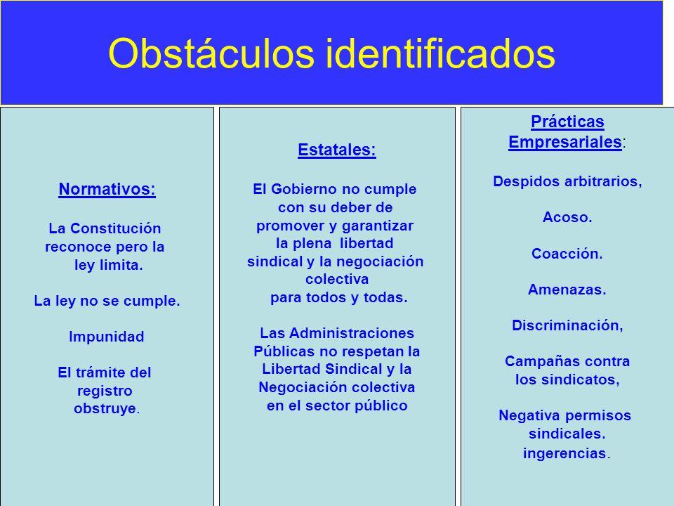 Obstáculos identificados - Normativos: La Constitución reconoce pero la ley limita. La ley no se cumple. Impunidad El trámite del registro obstruye. E