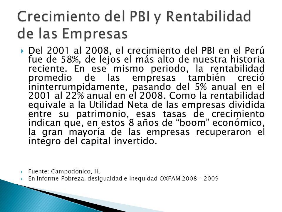 Del 2001 al 2008, el crecimiento del PBI en el Perú fue de 58%, de lejos el más alto de nuestra historia reciente.