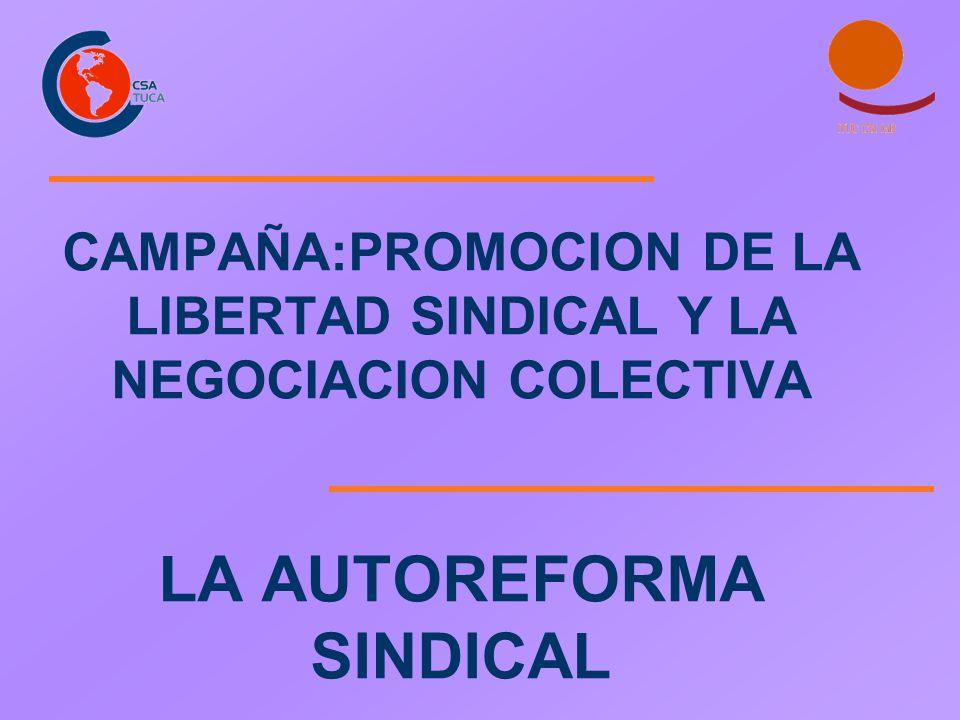 CAMPAÑA:PROMOCION DE LA LIBERTAD SINDICAL Y LA NEGOCIACION COLECTIVA LA AUTOREFORMA SINDICAL