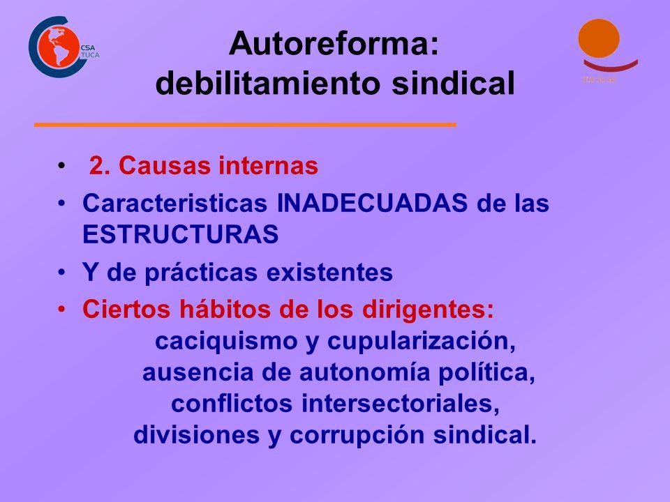 Autoreforma: debilitamiento sindical 2. Causas internas Caracteristicas INADECUADAS de las ESTRUCTURAS Y de prácticas existentes Ciertos hábitos de lo