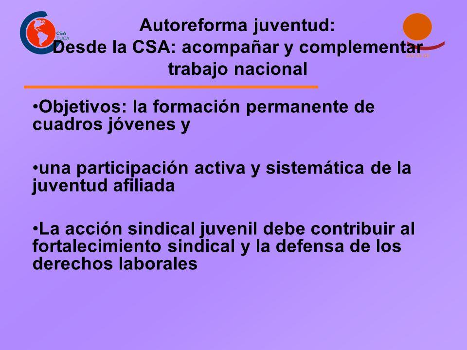 Objetivos: la formación permanente de cuadros jóvenes y una participación activa y sistemática de la juventud afiliada La acción sindical juvenil debe