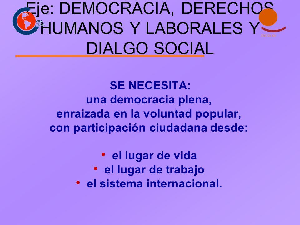 Eje: DEMOCRACIA, DERECHOS HUMANOS Y LABORALES Y DIALGO SOCIAL SE NECESITA: una democracia plena, enraizada en la voluntad popular, con participación c