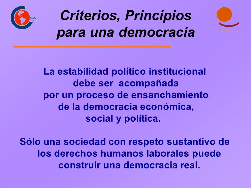 Criterios, Principios para una democracia La estabilidad político institucional debe ser acompañada por un proceso de ensanchamiento de la democracia
