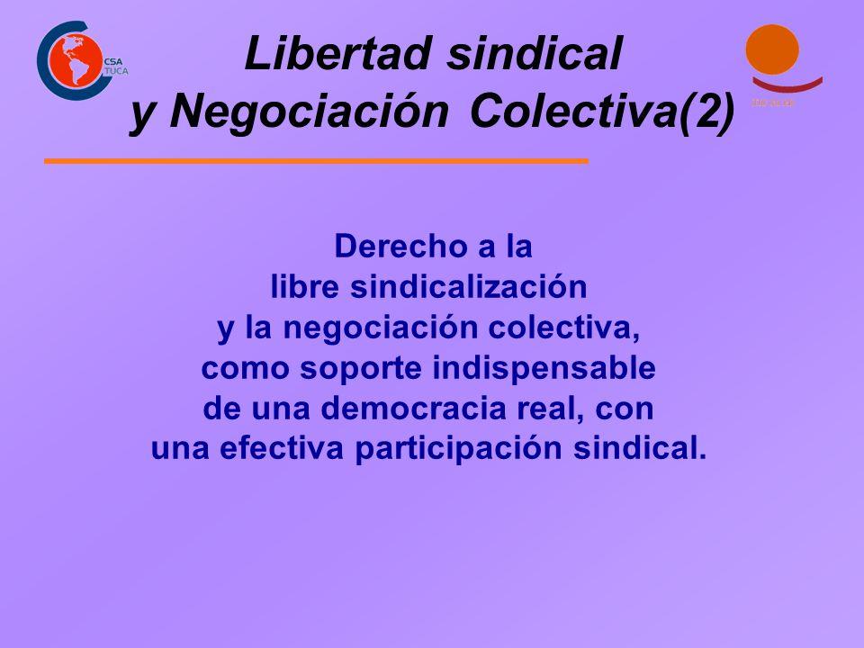 Libertad sindical y Negociación Colectiva(2) Derecho a la libre sindicalización y la negociación colectiva, como soporte indispensable de una democrac