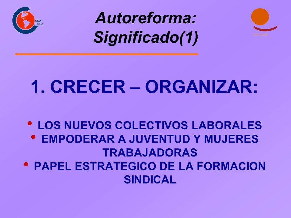 Autoreforma: Significado(1) 1. CRECER – ORGANIZAR: LOS NUEVOS COLECTIVOS LABORALES EMPODERAR A JUVENTUD Y MUJERES TRABAJADORAS PAPEL ESTRATEGICO DE LA