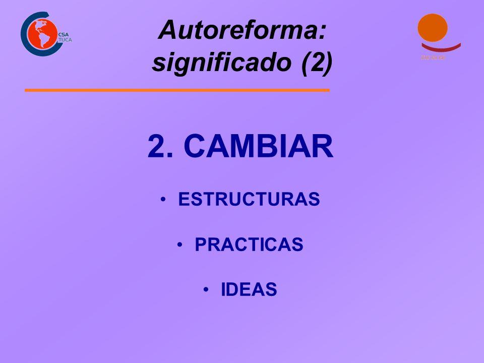 Autoreforma: significado (2) 2. CAMBIAR ESTRUCTURAS PRACTICAS IDEAS