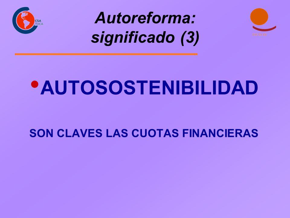 Autoreforma: significado (3) AUTOSOSTENIBILIDAD SON CLAVES LAS CUOTAS FINANCIERAS