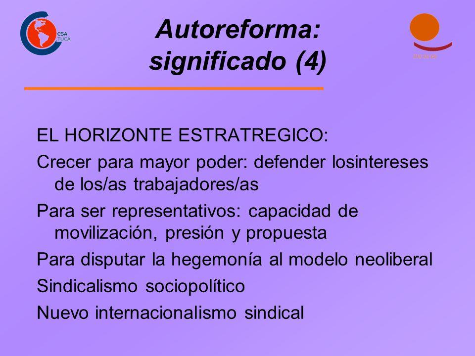 Autoreforma: significado (4) EL HORIZONTE ESTRATREGICO: Crecer para mayor poder: defender losintereses de los/as trabajadores/as Para ser representati